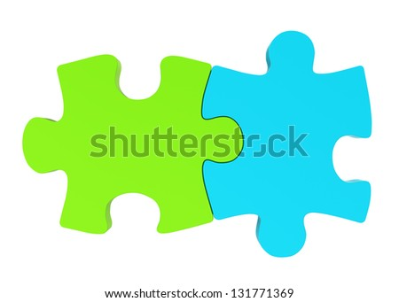 blue and green puzzle - stock photo