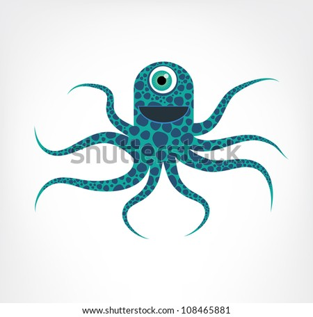 Blue and green spotted octopus - stock photo