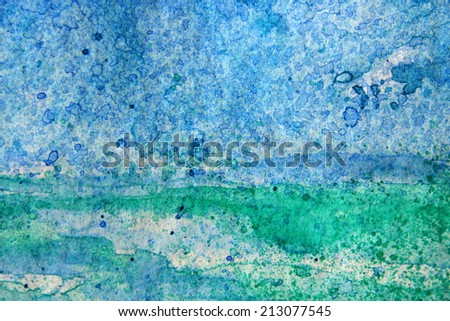 Blue and Green Watercoloir Abstract 2 - stock photo