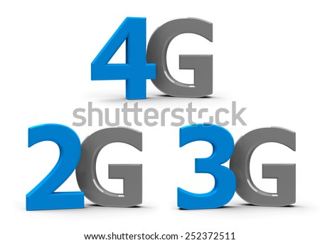 Blue and grey 4g, 3g, 2g symbols, icons or buttons isolated on white background, three-dimensional rendering - stock photo