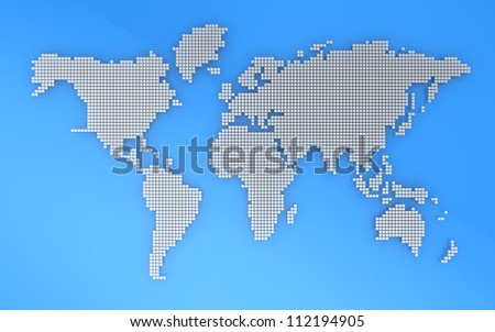 Blue and grey geography map, 3d illustration - stock photo