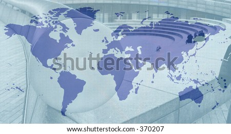 blue and grey world map - stock photo