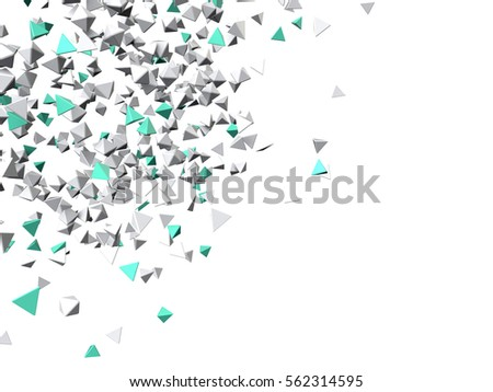 Blue and metal particles. Isolated on white background. 3d rendering