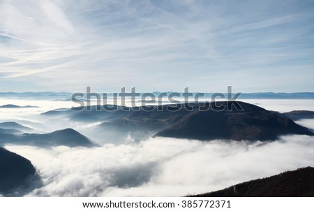 Blue and mountain mist - stock photo