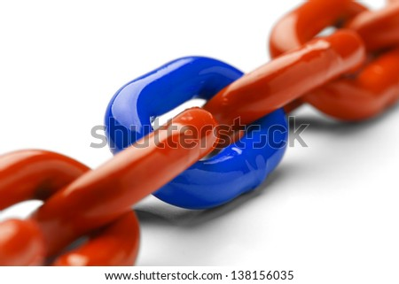 Blue and Orange Chain Close Up Isolated on White Background. - stock photo