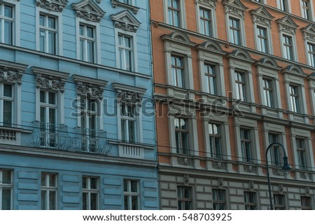 blue and orange facade in detailed view
