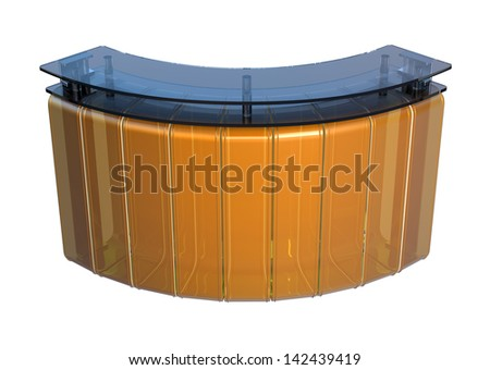blue and orange glossy plastic reception counter isolated on white