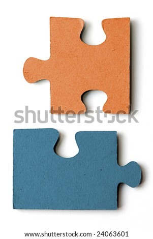 blue and orange jig saw pieces