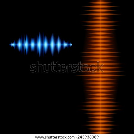 Blue and orange shiny sound waveform background with sharp peaks - stock photo