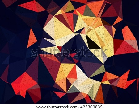 Blue and orange triangle Abstract background