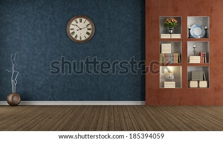Blue and orange vintage interior with niche - rendering - stock photo