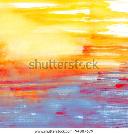 Blue and orange watercolor background, scanned in high resolution. Can be used as flayer or site background - stock photo