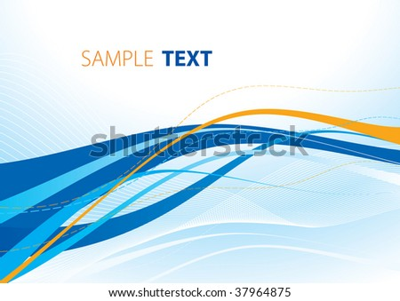 Blue and orange wave. Rasterized vector