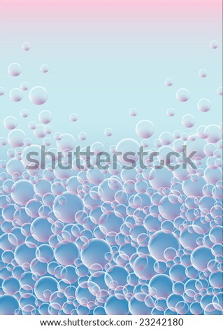 Blue and pink background full of transparent bubbles - stock photo