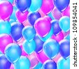 Blue and pink birthday balloons background - stock photo