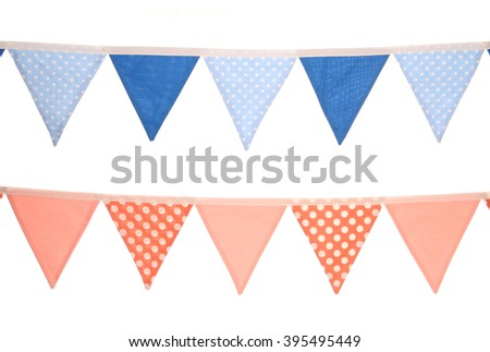 blue and pink bunting decoration isolated