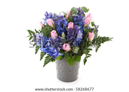Blue and pink flower bouquet with Larkspur and roses