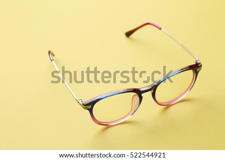 Blue and pink frame of glasses