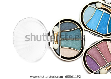 blue and pink make-up eyeshadows - stock photo