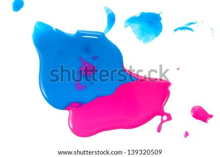 Blue and pink nail polish - stock photo