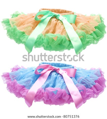 Blue and Pink Pettiskirt or Tutu Isolated on White with a Clipping Path. - stock photo