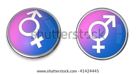 blue and pink-purple button with white male-female gender sign/symbol - stock photo