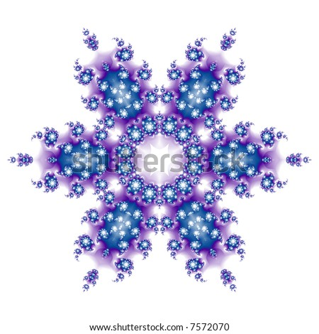 Blue and purple fractal snowflake on white background. - stock photo