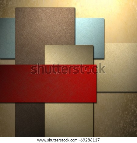 blue and red abstract background with brown layered rectangles in graphic art design layout, texture, soft lighting, and copy space to add your own title or text to cover page - stock photo