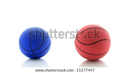 Blue and red basketballs. - stock photo