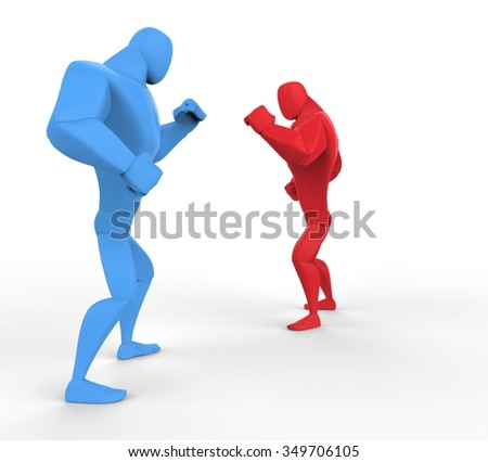 Blue and Red boxers preparing for fight. - stock photo