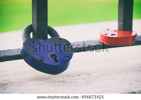 blue and red castle in the form of hearts, locks Suite