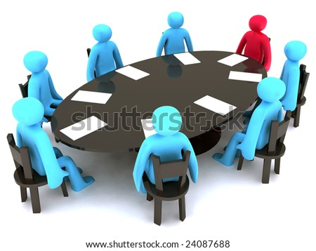 Blue and red characters around the table on meeting. - stock photo