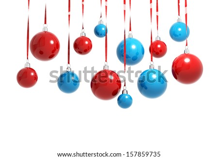 Blue and red Christmas balls hanging on ribbons isolated on white