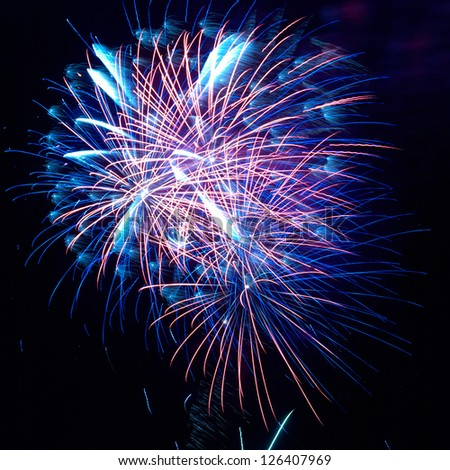 Blue and red colorful holiday fireworks on the black sky background. - stock photo