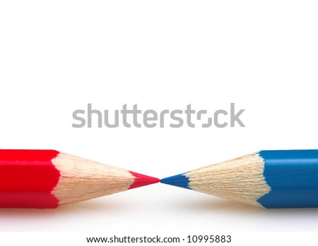 Blue and red crayons isolated on white background - stock photo