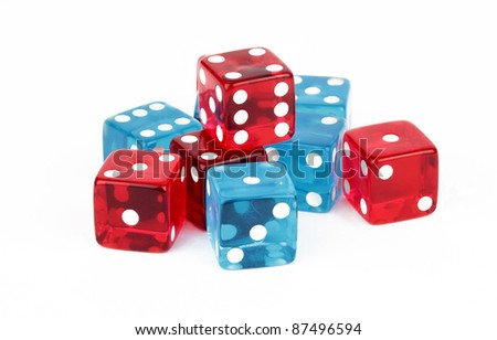 Blue and Red Dice Cutout - stock photo