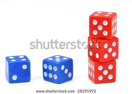 Blue and Red Dices on White - stock photo