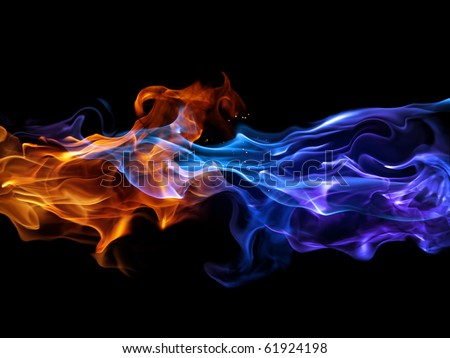 Blue and red fire - stock photo