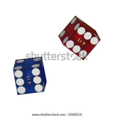 Blue and Red gambling dice on isolated white background - stock photo