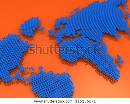 Blue and red geography map, model of world - stock photo