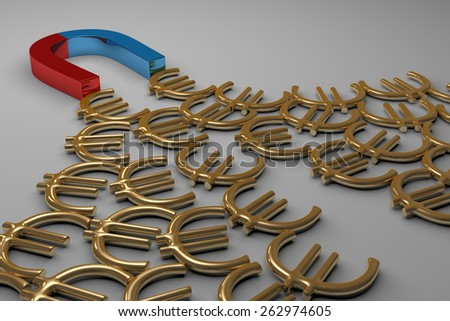 Blue and red glossy horseshoe or U shape magnet attracting many golden euro signs lying on gray background - stock photo