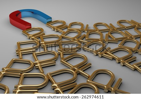 Blue and red glossy horseshoe or U shape magnet attracting many golden rouble signs lying on gray background