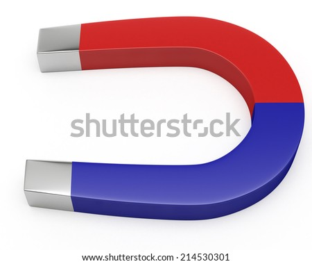 Blue and Red Horseshoe Magnet Isolated on White Background.