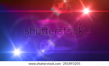 blue and red light twin lens flare special effect - stock photo
