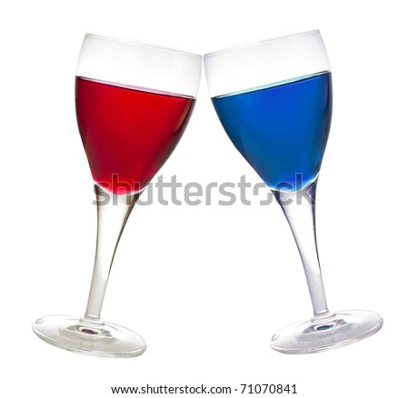 Blue and red liqueur glasses, drink, isolated on white background