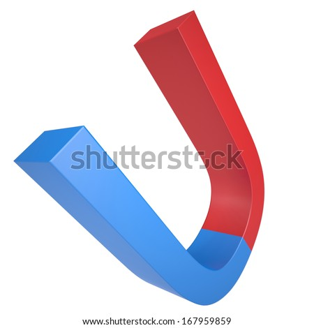 Blue and red magnet. Isolated render on a white background