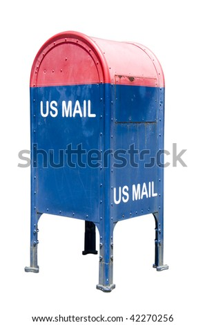 blue and red mailbox isolated on white - stock photo