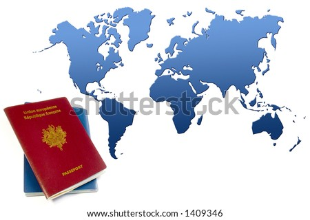 blue and red passports (french) near blue world map
