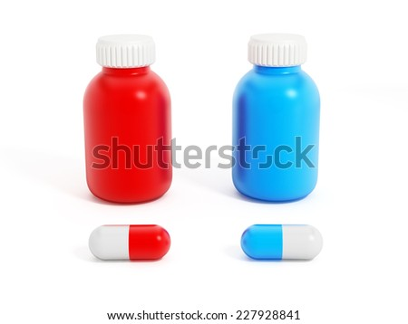 Blue and red pills with medicine bottles isolated on white background. - stock photo