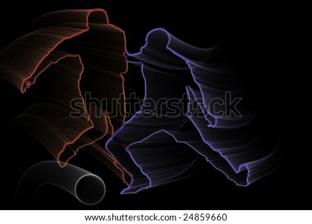 Blue and red soccer players silhouettes over black background - stock photo